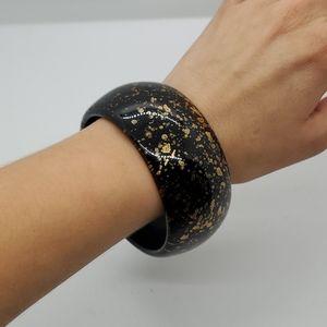 ❗FREE item! Black Gold Speckled Bangle Bracelet